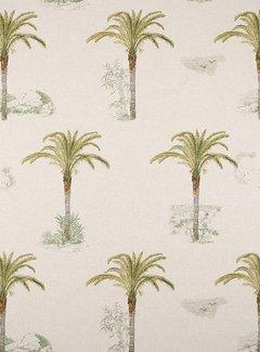 Decostoffen Tropische palmbomen linnenlook
