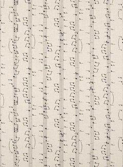 Decostoffen Muzieknoten linnenlook