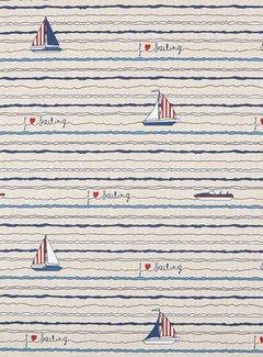 Decostoffen Stof met boten linnenlook