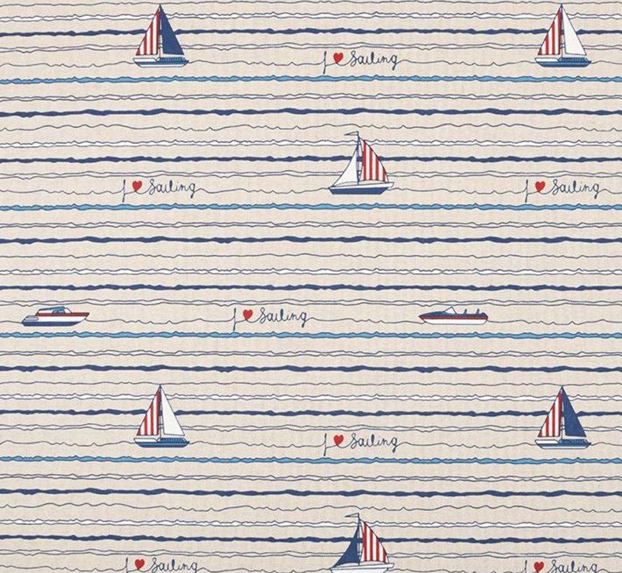 Stof met boten linnenlook stof
