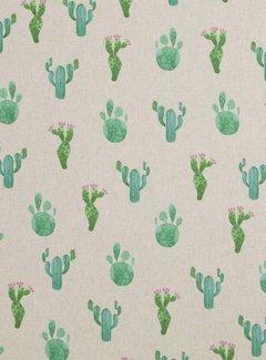Decostoffen Cactus print linnenlook