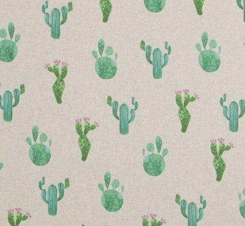 Decostoffen Cactus print linnenlook stof