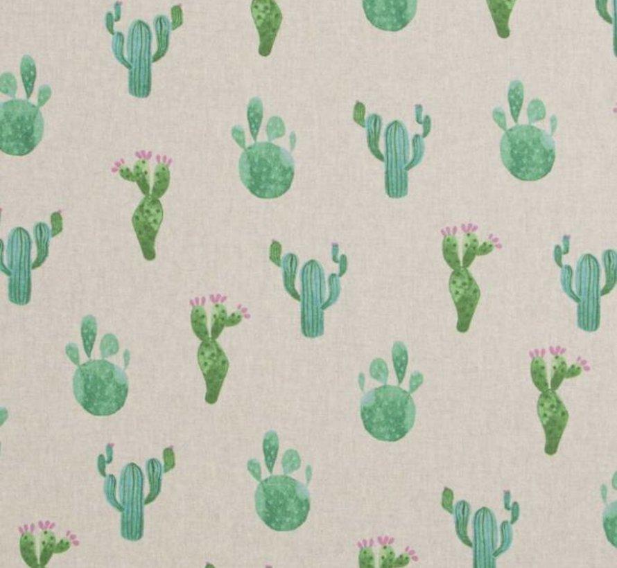 Cactus print linnenlook stof