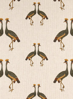 Decostoffen Kraanvogels linnenlook