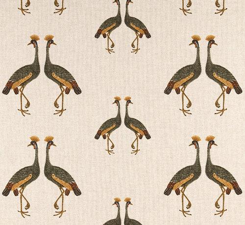 Decostoffen Kraanvogels linnenlook stof