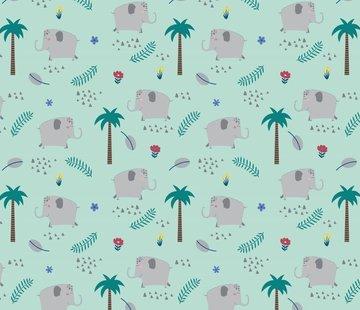 Decostoffen Olifanten mint tricot