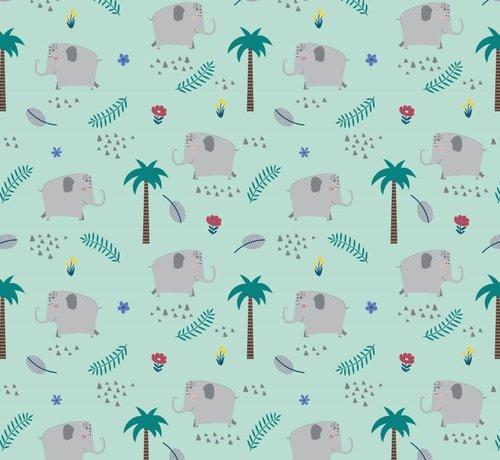 Decostoffen Olifanten mint tricot stof