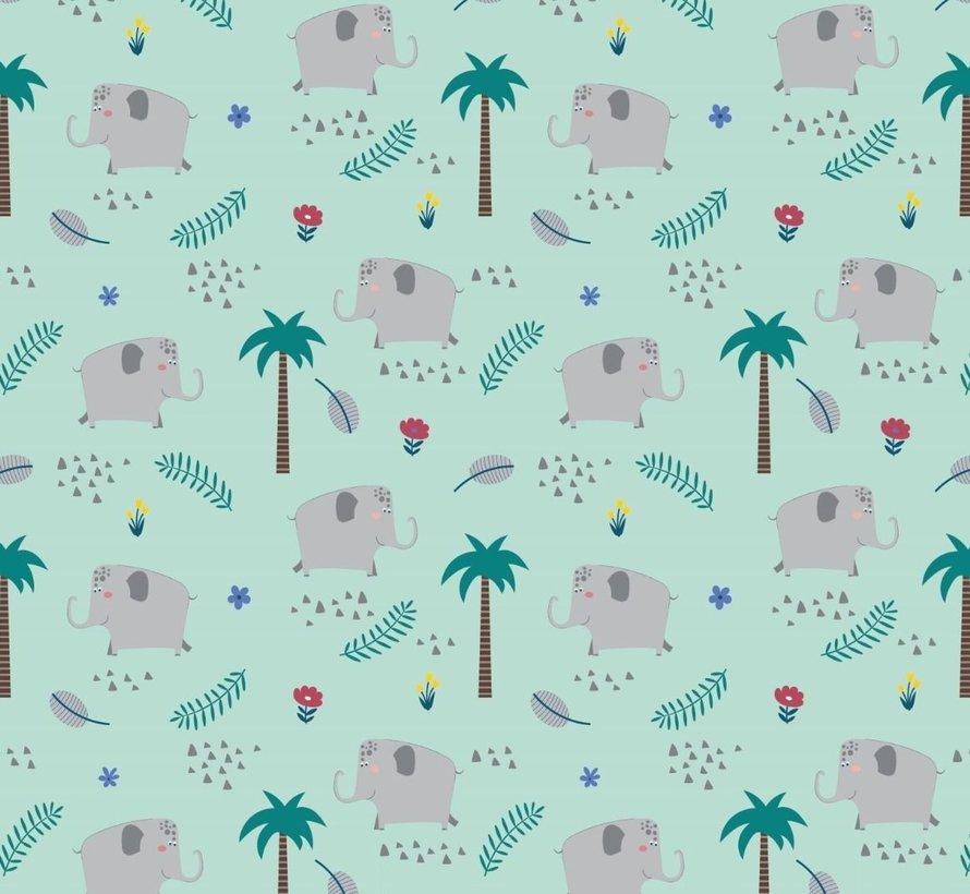 Olifanten mint tricot stof