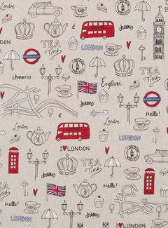 Decostoffen I love London linnenlook