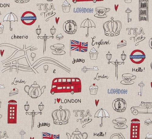 Decostoffen  I love London linnenlook stof