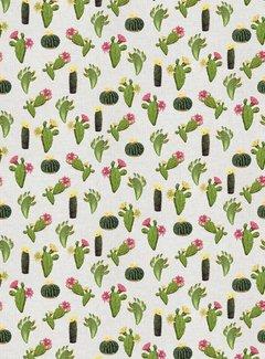 Cactus planten met bloemen linnenlook