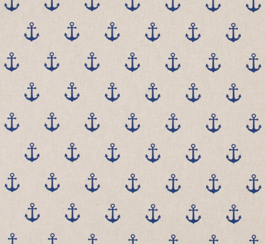 Maritiem ankers blauw op linnenlook stof