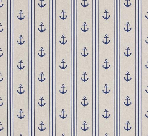 Decostoffen Maritiem ankers met blauw/witte strepen op linnenlook stof