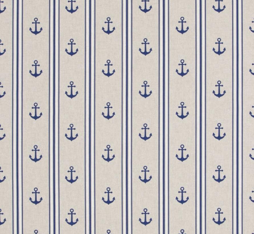 Maritiem ankers met blauw/witte strepen op linnenlook stof