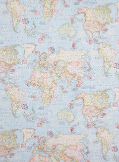Wereldkaart - ottoman print