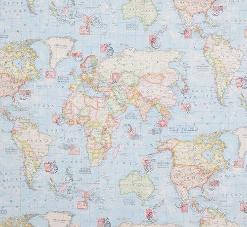 Decostoffen Wereldkaart ottoman stof met postzegels