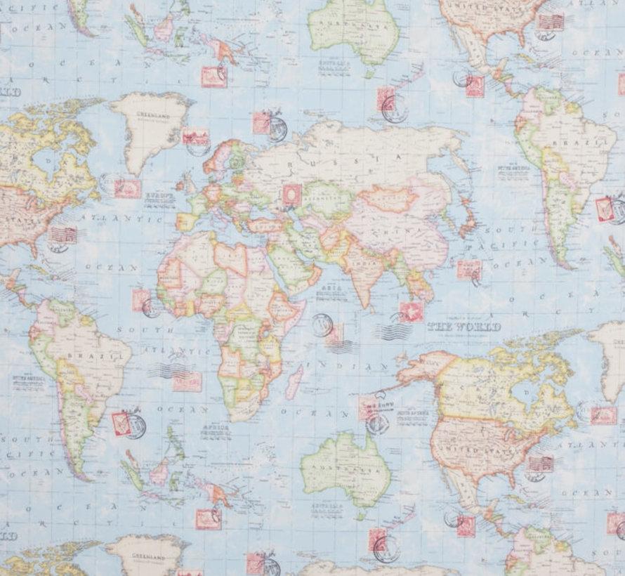 Wereldkaart ottoman stof met postzegels