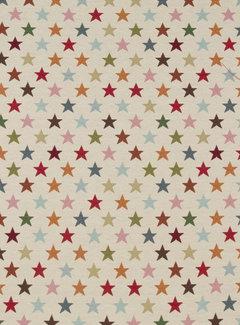 Decostoffen Multi color sterren groot - gobelin