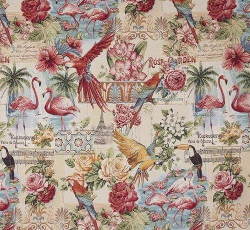 Decostoffen Flamingo/toekan - gobelin