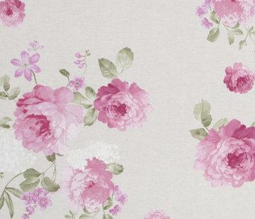 Roze rozen / beige - ottoman print
