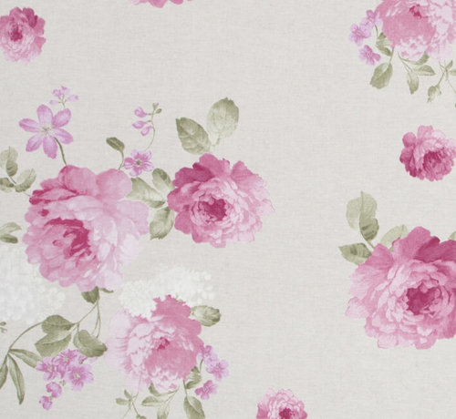 Decostoffen Roze rozen / beige - ottoman print