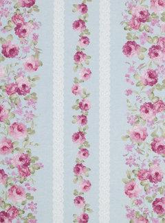Decostoffen Roze rozen - ottoman print