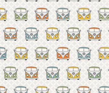 Decostoffen Retro volkswagen busjes - ottoman print