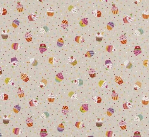 Decostoffen Kleurrijke cupcakes op linnenlook stof