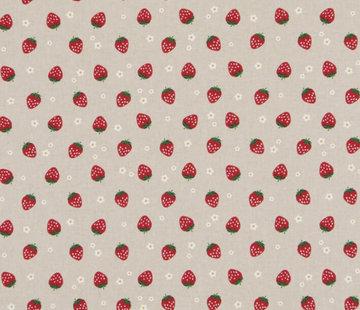 Decostoffen Aardbeien linnenlook