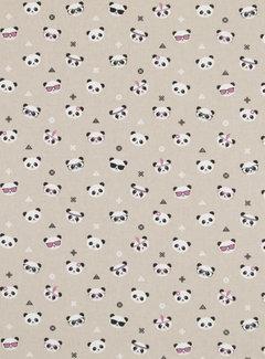 Decostoffen Panda linnenlook