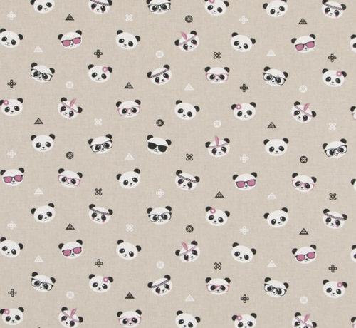 Decostoffen Panda's op linnenlook stof