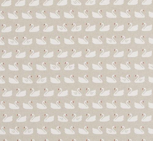 Decostoffen Witte zwanen op linnenlook stof
