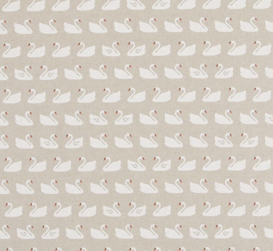 Witte zwanen op linnenlook stof