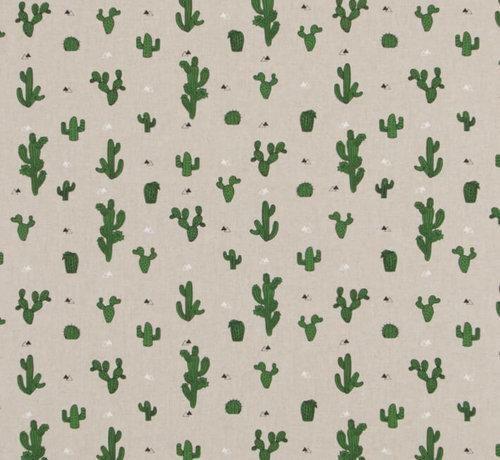 Decostoffen Cactus planten op linnenlook stof