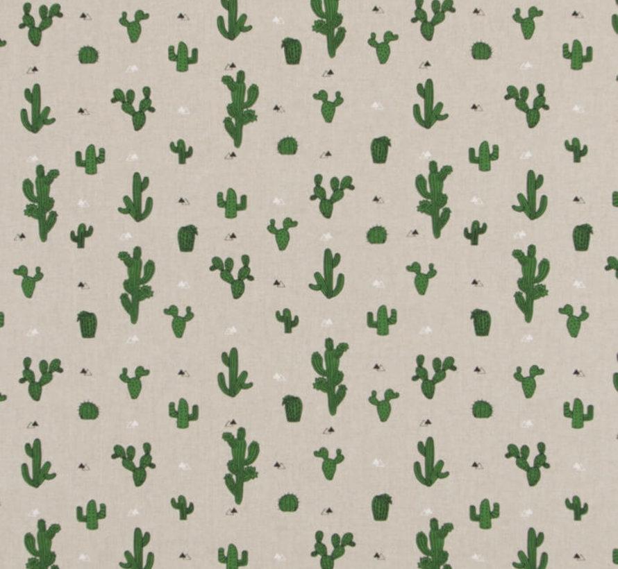 Cactus planten op linnenlook stof
