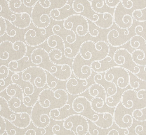 Decostoffen Geometrische witte print op linnenlook stof