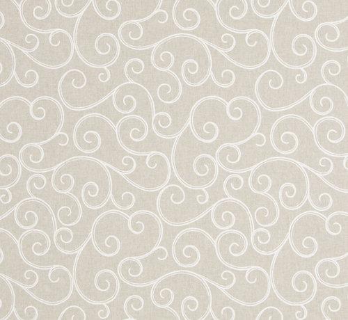Geometrische witte print op linnenlook stof