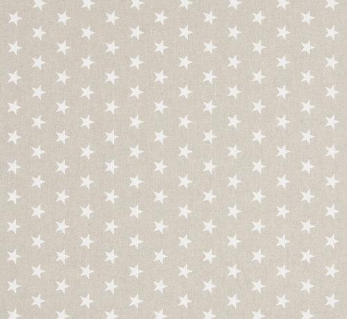 Decostoffen Witte sterren op linnenlook stof