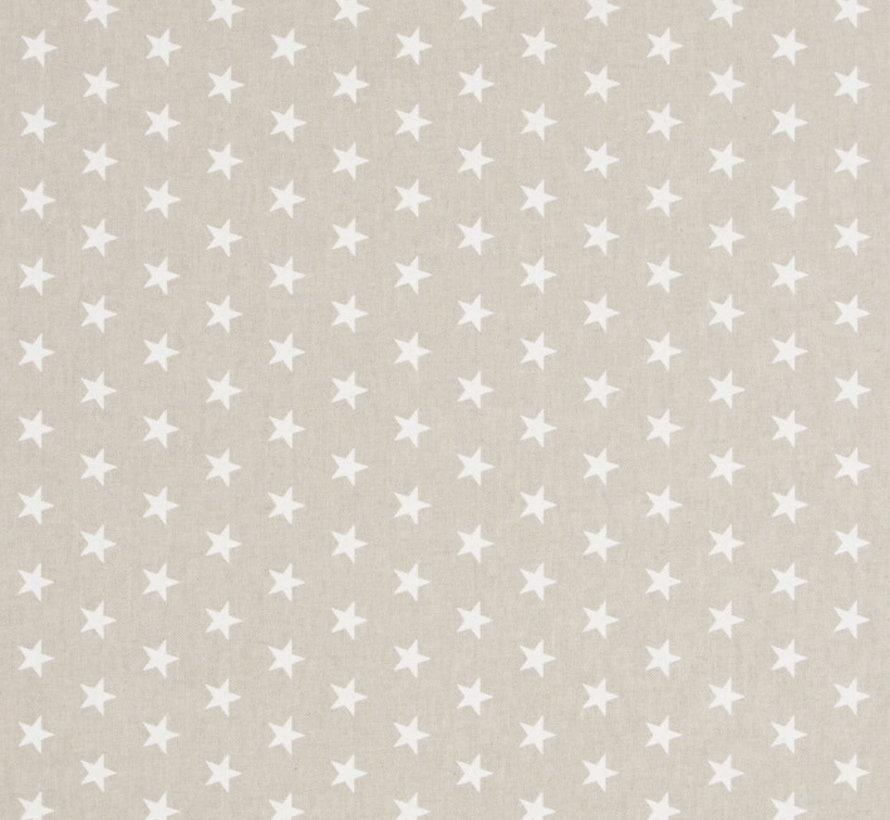 Witte sterren op linnenlook stof