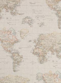 Decostoffen Wereldkaart vintage linnenlook