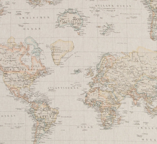 Decostoffen Vintage linnenlook wereldkaart stof