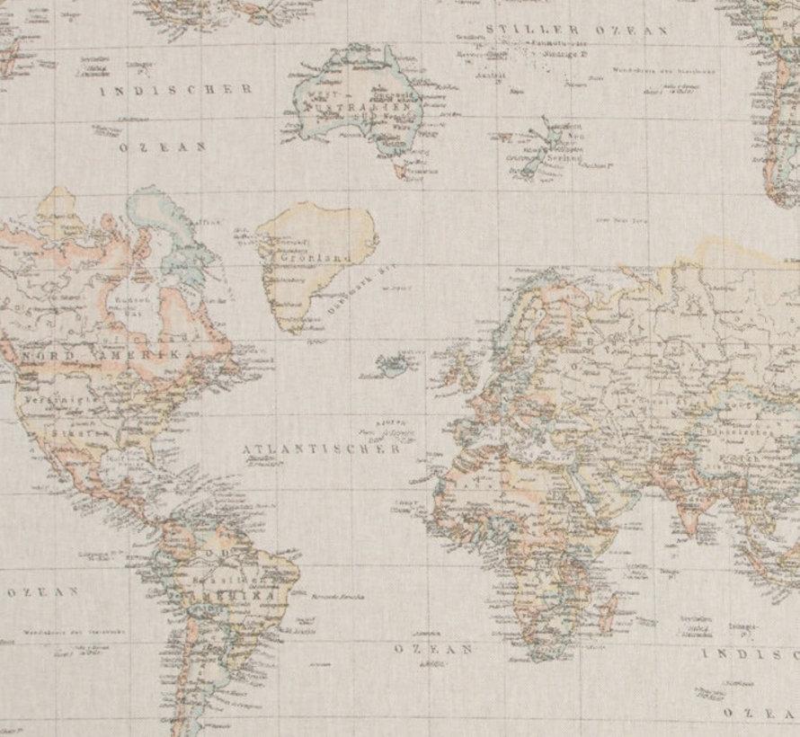 Vintage linnenlook wereldkaart stof