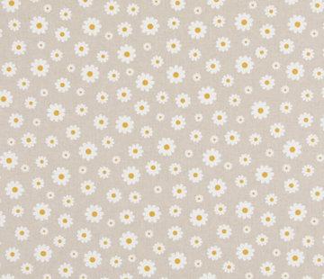 Decostoffen Witte bloemetjes linnenlook