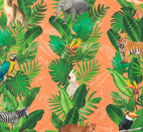 Decostoffen Jungle oranje - outdoor