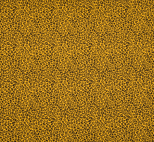 Decostoffen Panterprint okergele tricot stof