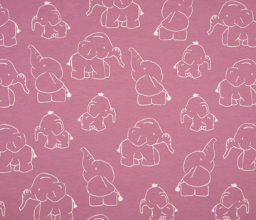 Decostoffen Olifanten oud roze tricot