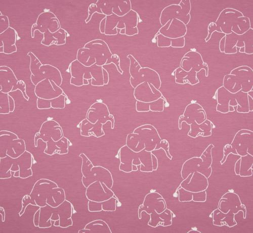 Decostoffen Olifanten oud roze tricot stof
