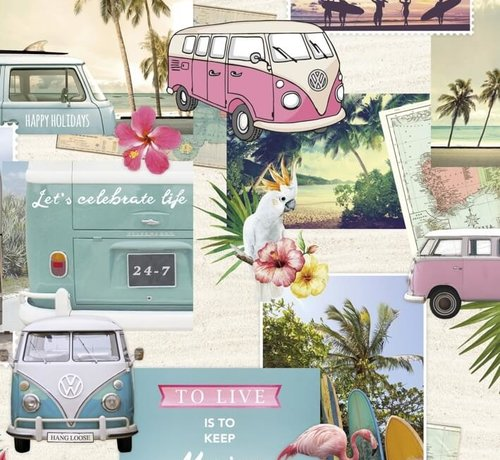 Decostoffen Volkswagen busjes - digitale print