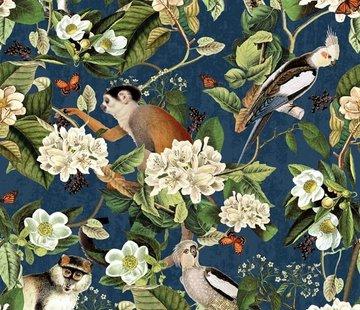 Aapjes en vogels - digitale print