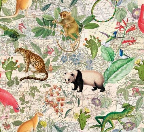 Decostoffen Jungle met dieren - digitale print